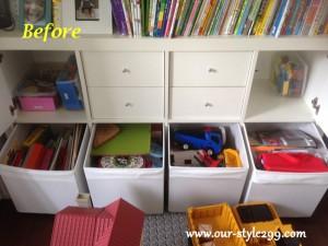 事例紹介3-2 before 『収納ボックスには本や様々なおもちゃが混在』